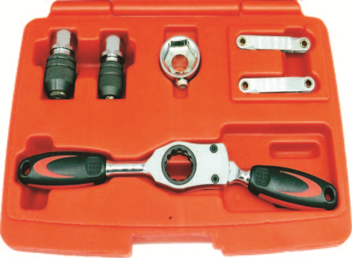 6 Piece Tap & Die Adaptor With Gear Ratchet Wrench