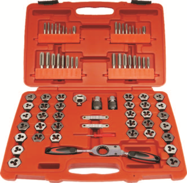75 Piece Combination Tap & Die With Gear Ratchet Wrench